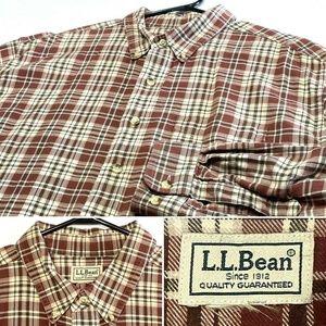 LL Bean Mens XL Plaid Casual Button Down Shirt